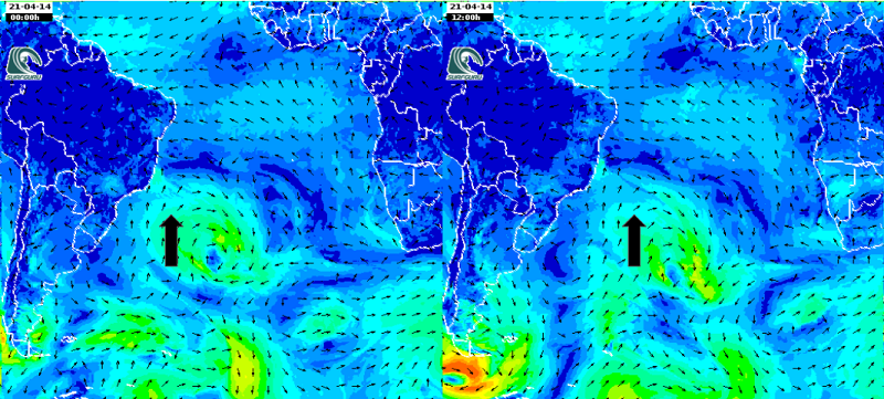 mapa de vento para 14/04 am do sul